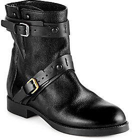 Chloé Leather Double-Buckle Motorcycle Boots