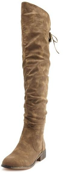 Charlotte Russe Distressed Lace-Back Thigh-High Boot