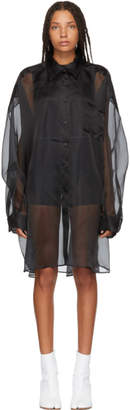 Maison Margiela Black Silk Shirt Dress