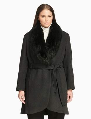 Calvin Klein plus size luxe faux fur shawl collar jacket