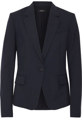 Theory - Gabe Wool-blend Crepe Blazer - Midnight blue $440 thestylecure.com