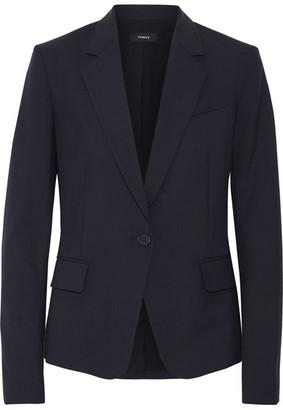 Theory - Gabe Wool-blend Crepe Blazer - Midnight blue $485 thestylecure.com