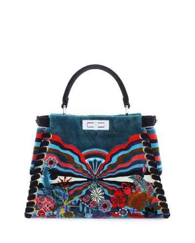FendiFendi Peekaboo Medium Embroidered Velvet Bag, Black Multi