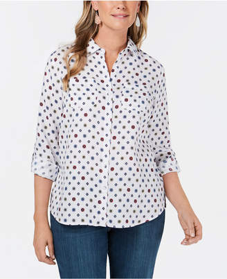 Charter Club Linen Iconic-Print Roll-Tab Shirt, Created for Macy's