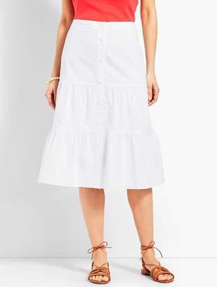 Talbots Tiered Button-Front Poplin Skirt