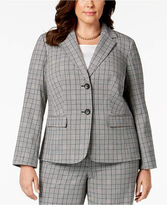 Nine West Plus Size Two-Button Plaid Jacket