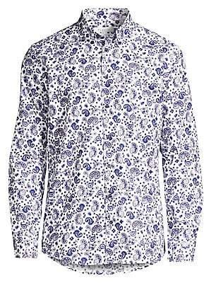 Bugatti Men's Long Sleeve Paisley Print Shirt