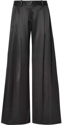 Nili Lotan Seville Silk-satin Wide-leg Pants - Black