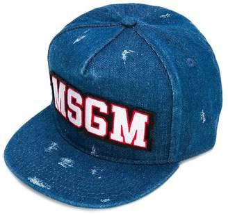 MSGM distressed denim logo cap