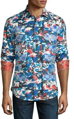 Robert Graham Zen Beach Printed Long-Sleeve Shirt, Multi $310 thestylecure.com