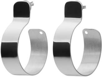 Ekria Timeless Tres Hoop Earrings Shiny White Gold