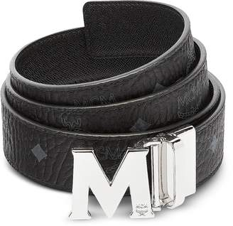 MCM Black Visetos Claus M Reversible Belt