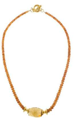Robert Lee Morris 18K Citrine & Spessartine Garnet Bead Necklace
