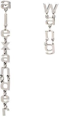 Alexander Wang Silver Letter Logo Earrings