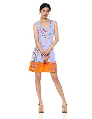 MSK Women's Casual Flounce Dress with Color Block Floral Print