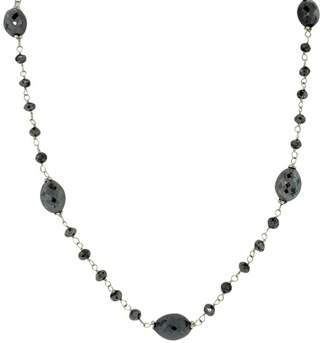 14K White Gold with 36ct Black Diamond Beaded Necklace