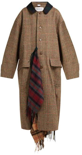 Oversized Houndstooth Wool Coat - Womens - Brown Multi