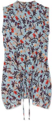 Chloé Draped Floral-print Georgette Top - Blue
