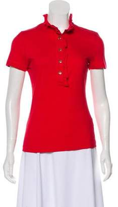 Tory Burch Mock Neck Short Sleeve Top