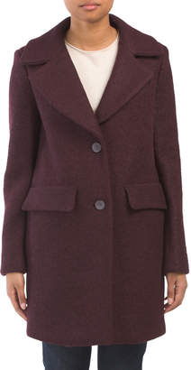 Textured Wool Blend Flap Pocket Coat