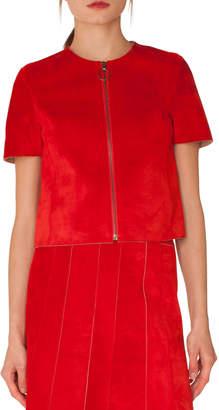 Akris Punto Zip-Front Short-Sleeve Leather Suede Jacket