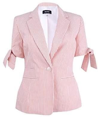 Nine West Women's Seersucker 1 Button Jacket with Ties on Sleeves