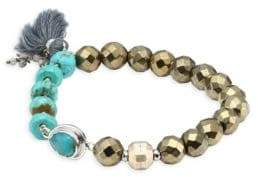 Chan Luu Metallic Beaded Tassel Bracelet