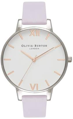 Olivia Burton White Dial Leather Strap Watch, 38mm