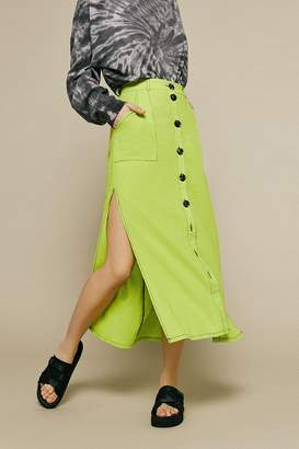 Urban Outfitters Lindsey Slit Button-Front Utility Skirt