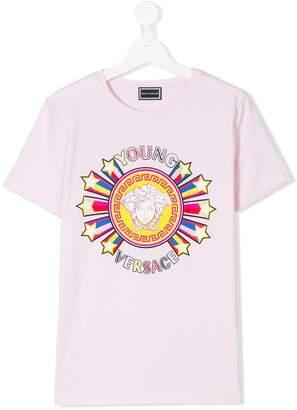 Versace logo star burst print T-shirt