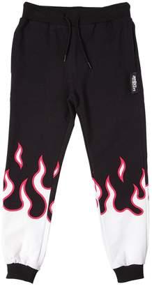 Jeremy Scott Flame Printed Cotton Fleece Pants