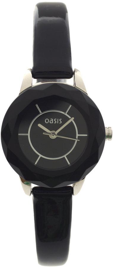 Oasis Slim Black Strap Watch