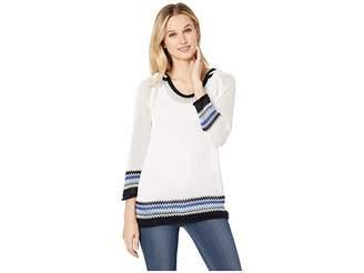 Tribal 3/4 Sleeve Cotton Yarn Hooded Sweater