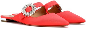 Aquazzura Crystal Blossom grosgrain slippers
