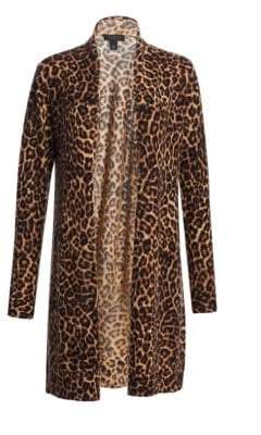 Saks Fifth Avenue COLLECTION Cashmere Leopard Print Cardigan