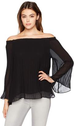 5a6fc1feed8d7 Max Studio MAXSTUDIO Women s Solid Release Pleat Off The Shoulder Blouse