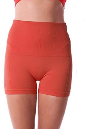 Generic Breathable & Stretchy High Waist Tummy Control Workout Yoga Shorts For Women - SMALL CORAL