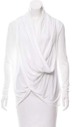 Alice + Olivia Drape-Accented Long Sleeve Top