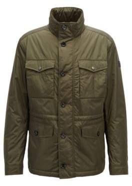 BOSS Hugo Water-repellent field jacket in lustrous technical fabric 38R Dark Green