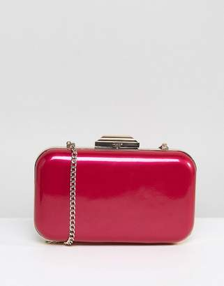 Dune Pink Metallic Box Clutch with Chain Strap