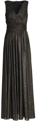 Badgley Mischka Metallic Gathered Metallic Gown
