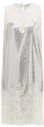 Paco Rabanne Chantilly Lace Trimmed Chainmail Mini Dress - Womens - Silver