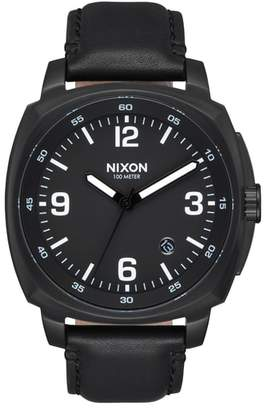 Nixon Charger Leather Strap Watch, 42mm