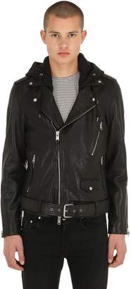 AllSaints Renzo Leather Biker Jacket W/ Hood