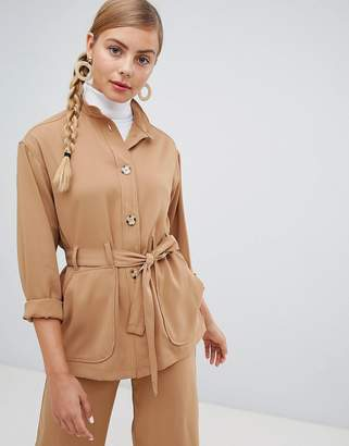 Monki utility jacket with oversized pockets in beige