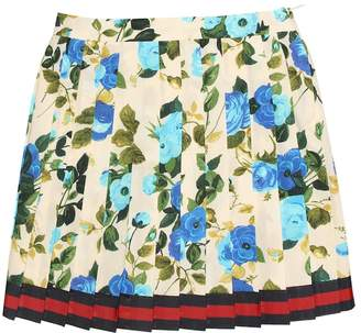 Gucci Kids Floral-printed cotton skirt