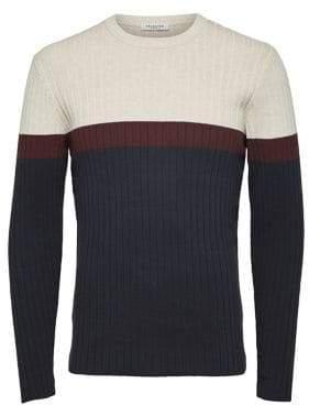 Selected Jon Colourblock Cotton Sweater