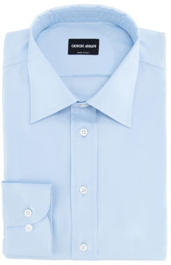 Giorgio Armani Texture Striped Cotton Dress Shirt, Light Blue