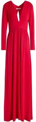 Halston Cutout Gathered Jersey Gown