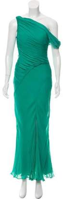 Oscar de la Renta One-Shoulder Silk Dress
